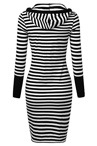 Djt Mode Féminine Bloc De Couleur Bande Robe Pull À Capuche Midi Avec Poche Kangourou Bande Noire