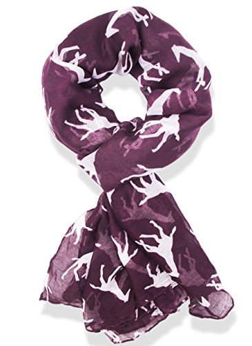 Hanson Giraffe Print Long & Soft Celebrity Style Scarf (Purple)