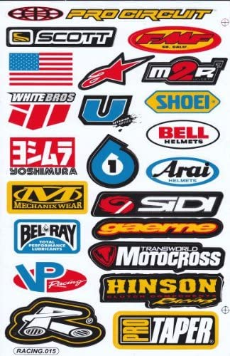 Sponsors Hoja Racing Decal Sticker Tuning Racing Tamaño: 27 x 18 cm para el coche o la moto