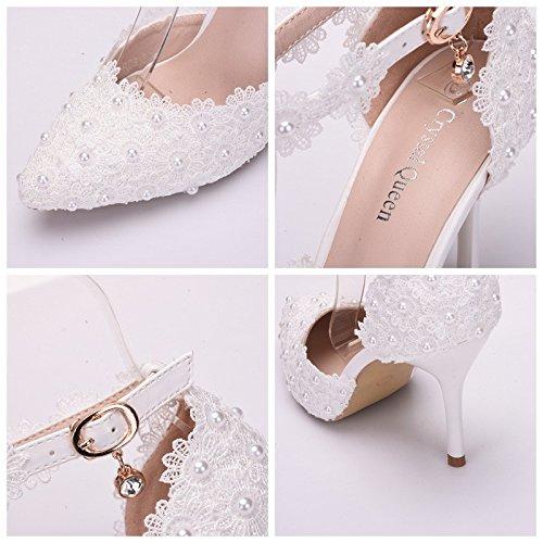 Die weiße Spitze Spitze Spitze Mesh Hochzeit Schuh mit feiner Spitze flach Handgelenk Frauen singles Schuhe Weiß 12a7c9