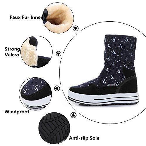 Calentado Botines Polar Felpa Botas Forro Negro Blanco Invierno Calzado Nieve 41 Boots Mujer Velcro Azul 34 4cm Plataforma Pamray Zapatos x8wdOq8Y