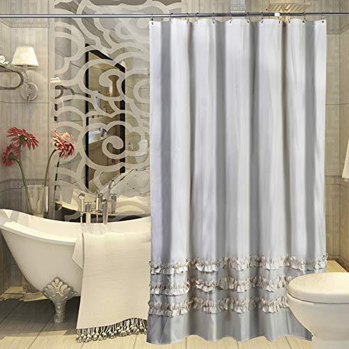 lanshe) Beige Stripe Pleated Shower Curtain Waterproof Polyester Shower Curtain for Bathroom (72Inchx80Inch)