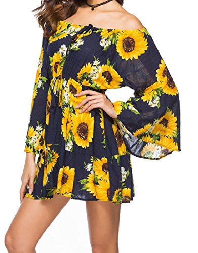 Tootless-Women Print Pure Color Flare Sleeve Shoulder Off Mid Length Dress 3 - In Hilo Shopping Hawaii