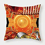 iPrint Cotton Linen Throw Pillow Cushion Cover,Copper Decor,Steampunk Retro Mechanism Antique Engine Gear Ancient Old Technology Vibrant,Multicolor,Decorative Square Accent Pillow Case