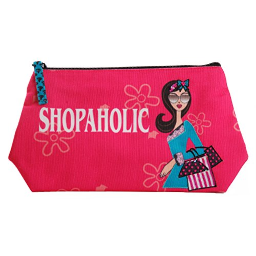 (Pinaken Fabric Cosmetic Bags Portable Travel Toiletry Pouch Makeup Organizer Clutch Bag with Zipper)