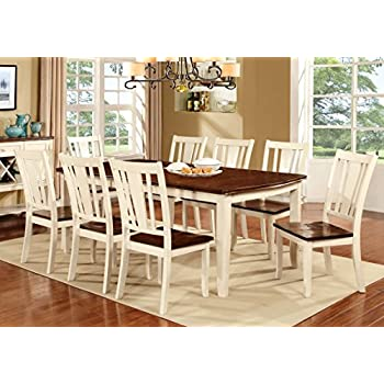 Furniture Of America Macchio 9 Piece Transitional Dining Set,  Cherry/Vintage White