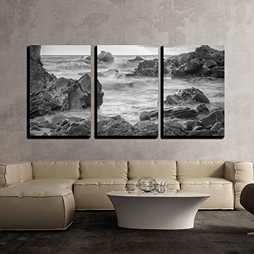 a Black and White Shot Looking Out to The Pacific Ocean x3 Panels