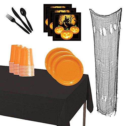 Halloween Party Kits (Halloween Party Supplies Kit 24 Pack Dinnerware Cutlery Cups Spider Web Decoration Napkins Table Cover Party Bundle)