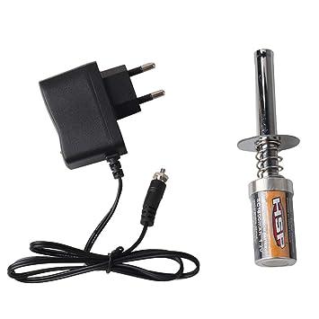 ZJL220 HSP Nitro Starter Kit Encendedor de la bujía de precalentamiento con Cargador de batería para HSP RC Car S5O4 EU: Amazon.es: Hogar