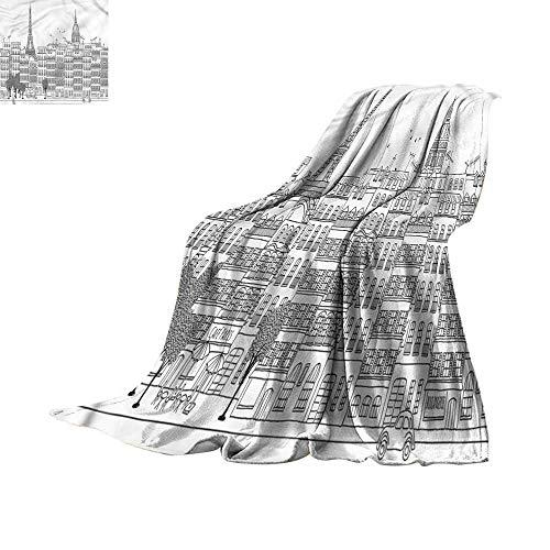 (homehot Soft Blanket Queen Eggplant,Zig Zag Waves Shapes 90