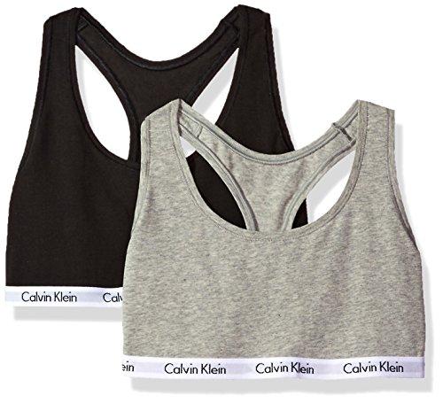 Calvin Klein Women's Carousel Bralette, Black/Grey, (Calvin Klein Cotton Bras)