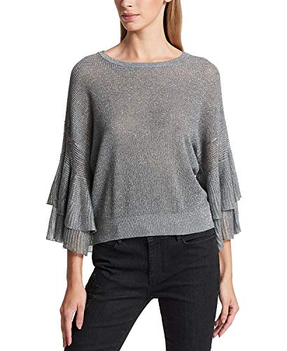 DKNY Womens Metallic Crewneck Pullover Sweater Silver L - Metallic Short Sleeve Sweater