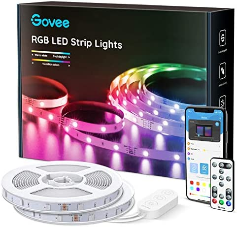 Govee 65.6 Feet RGB Led Light Strip, App Control, Music Mode for Room, Kitchen, Ceiling, Party