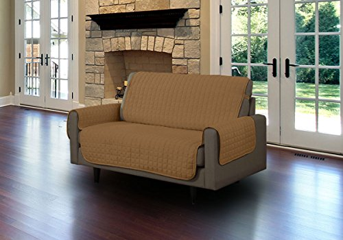 Linen Store Quilted Microfiber Pet Furniture Protector Cover With Tucks And Straps, Camel, Loveseat (Pet Cover Furniture)