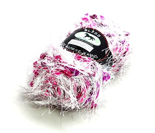 Dark Horse Yarns Bliss #503 Berry Pop Fancy Fur Style Eyelash Popcorn Yarn, 100 Gram, 87 Yards - Fur Yarn Fancy