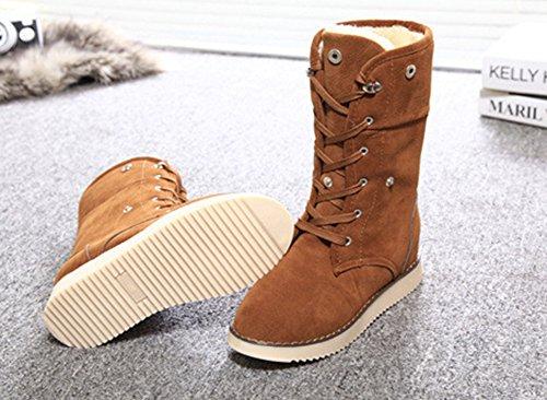 Hiver Aisun Chaussures Femme Original Mollet Jaune De Bottes rwwI6RxUq
