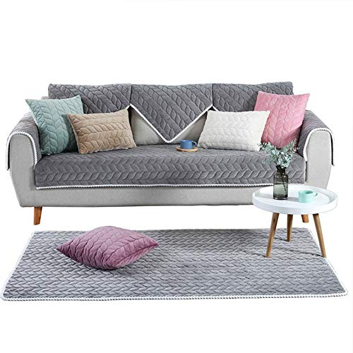 OstepDecor Multi-Size Soft Rectangular Quilted Furniture Protector and Slipcover for Pets, Kids, Dogs - Large & Standard Sofa, Loveseat, Recliner and Chair - Gray 36 x 94 Inches (90 x 240cm) ()