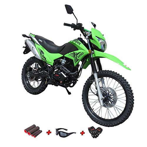 250cc Dirt Bike Hawk 250 Enduro Street Bike Motorcycle Bike with Gloves, Sunglasses and Handgrip (Green) (Best 250 Motocross Bike)