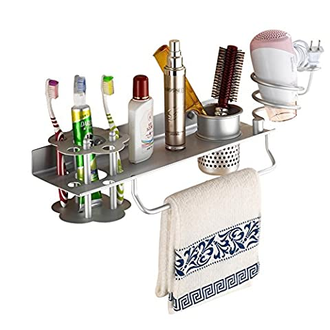 Bathroom Hair Dryer Holder Hair Blow Dryer Comb Holder Organizer Shelf Rack Stand Wall Mounted Hanging Rack with Cup Space Aluminum (with Toothbrush - Iron Multifunction Tool