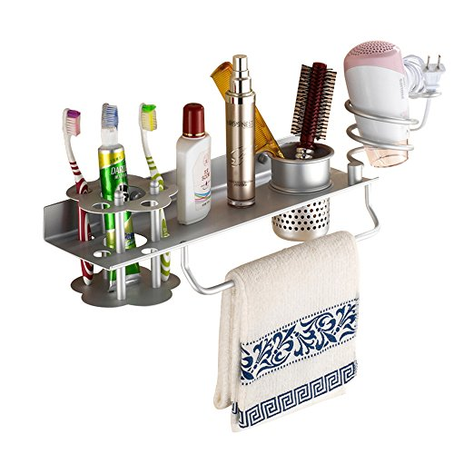 Bathroom Hair Dryer Holder Hair Blow Dryer Comb Holder Organizer Shelf Rack Stand Wall Mounted Hanging Rack with Cup Space Aluminum (with Toothbrush Holder) by Baigio Woman