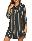 URRU Women 3/4 Sleeve Pajama Top Button Down Striped Sleep Shirt Dress Green M
