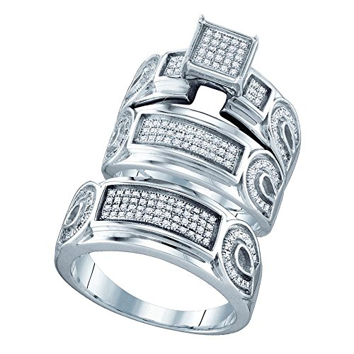 Horseshoe Diamond Ring Ladies (Sterling Silver Mens Womens Horseshoe Diamond Engagement Ring & Wedding Bands Set His Hers Rings 1/2 ctw Size 5)