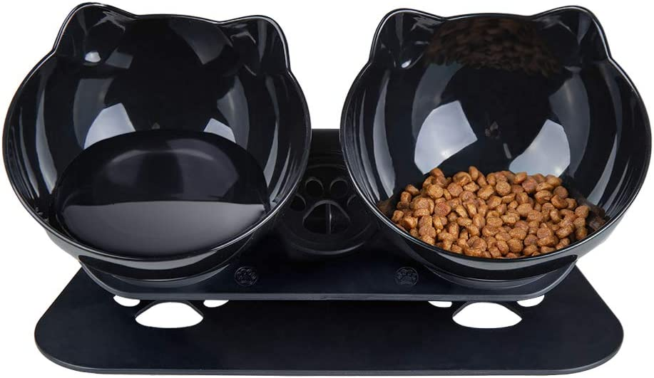 Pantula Cat Bowls - Tilted cat Food Bowls - Raised cat Food Bowl Pet Double 15° Slanted cat Bowls Elevated with Non-Slip Rubber Base Stand for cat Dish…