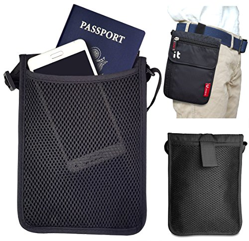 Neck Wallet w/RFID Blocking- Concealed Travel Pouch & Passport Holder (Neck Black)