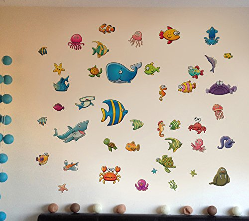 Whale Mural (Amaonm Cute Cartoon Under the Sea Animals Wall Decal Reovable DIY Aquatic creatures Fish Coral, whale Wall Stickers Murals for Children Babys Kids Rooms Bedroom Wall corner Nursery Room)