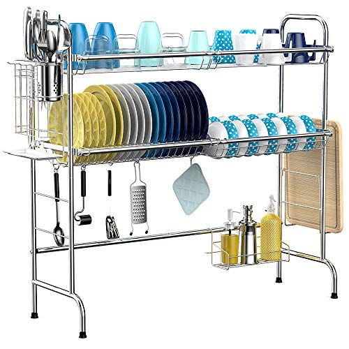 Over the Sink Dish Drying Rack, iSPECLE 2-Tier Large 201 Stainless Steel Dish Rack with Utensil Holder Hooks Stable Bend Foot for Kitchen Counter Non-Slip (Large Dish Rack)