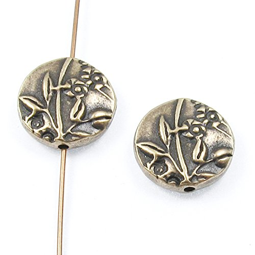 TierraCast Double-Sided Pewter Puffed Coin Beads-Brass Oxide Jardin 15mm (2 Pcs) (Puffed Coin Beads)