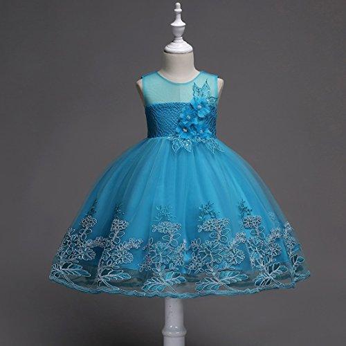 6 Lace Patchwork Ragazze Wedding Prom Sky moichien Birthday Flower Blue Ai Party Color Tulle Dress XUPqRt
