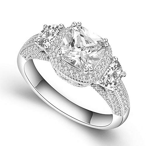 Waldenn 3ct Moon Shape Princess Cut AAA CZ Womens 925 Silver Engagement Ring Size 4-9.5   Model RNG - 27485   7