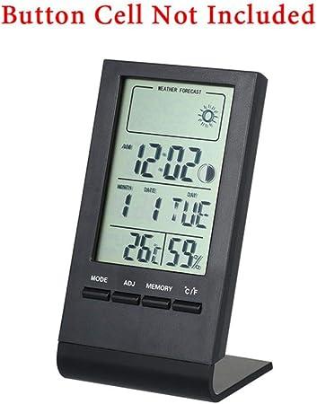 BWYFGRT Mini Termómetro Digital Higrómetro Medidor de Humedad de Temperatura Interior Reloj Reloj Estación meteorológica Pronóstico Valor máximo mínimo Pantalla Negro: Amazon.es: Hogar