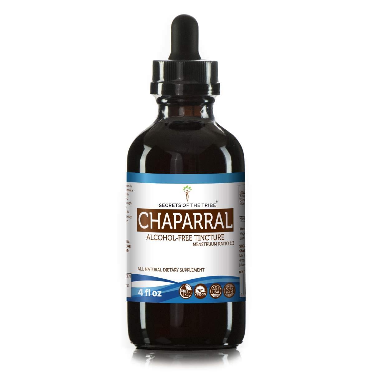 Chaparral Alcohol-Free Liquid Extract, Organic Chaparral Larrea tridentata Dried Leaf and Flower Tincture Supplement 4 FL OZ