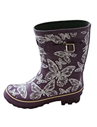 Jileon Half Height Purple with Butterflies Rain Boots for Women-Widest Fit Boots in the US-Wide in the Foot and Ankle-Durable Boots for All Weathers