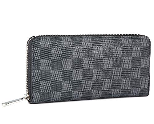 - Checkered Leather Zipper Around Wallet with Phone Clutch/Card Holder/Bill Organizer for Men and Women (black)