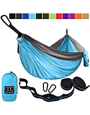 Gold Armour Camping Hammock - USA Brand Single Parachute Hammock (2 Tree Straps 10 Loops/20 ft Included) Lightweight Nylon Portable Adult Kids Best Accessories Gear