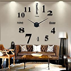 Modern Wall Clock 3D Mirror Wall Clock Large Mute DIY Frameless Clock with Numbers Wall Sticker Clock Decoration for Home Office by AENMIL(Black)