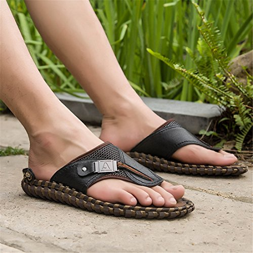 Heren Outdoor Lederen Zomer Strand Lederen Casual Slippers Bb305 Zwart