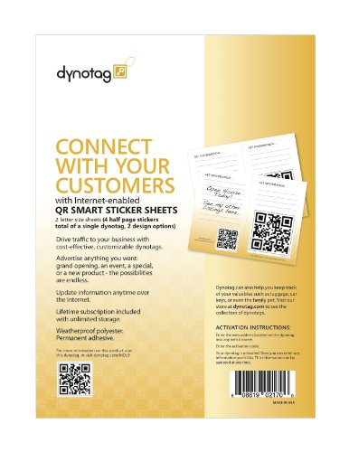 Dynotag® Internet Enabled QR Code Smart Tags - Ready to Use, 4 Giant Half Page Weatherproof Signs w. Adhesive Backing All Purpose Easel