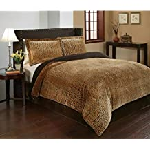 3 Piece Cheetah Animal Printed Pattern Comforter Set Queen Size, Featuring Reversible Bold Solid Plush Design Comfortable Bedding, Contemporary Stylish Bedroom Decoration, Brown, Black, Multicolor