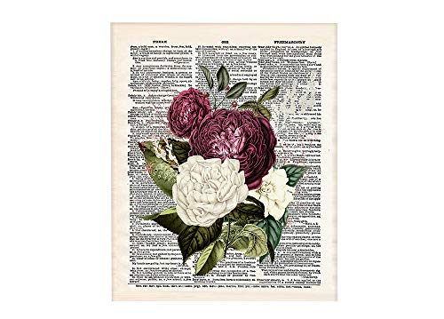 Red Vintage Flowers 8x10 Un Framed Print. Set on Background of Vintage Style Dictionary Page. Ideal for Flower Lovers, Lewis Carroll and Alice in Wonderland Fans