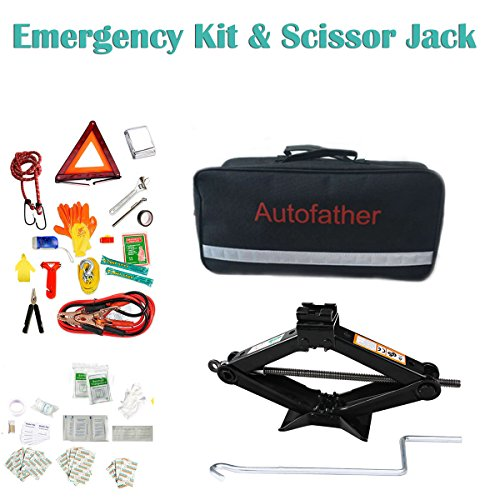 Autobaba 1 Set Car Emergency Kit and 1 Pcs 2-Ton Scissor Jack with Handle, Includes 123pcs First Aid Kit & Roadside Assistan Kit, A Real All-In One Pack