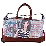 Girls Brown Multi Graphics Themed Wheeled Duffle Bag Upright Rolling Duffle, Beautiful Fashion Girl, Quotes & Saying, Animal Printed Carry on, Travel Duffel with Wheels, Wheeling Luggage, Fashionable