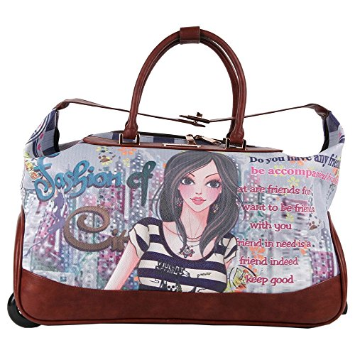 a1701073c5 Girls Brown Multi Graphics Themed Wheeled Duffle Bag Upright Rolling Duffle