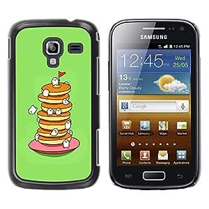 TopCaseStore / la caja del caucho duro de la cubierta de protección de la piel - Cute Sweet Food Eating Green - Samsung Galaxy Ace 2 I8160 Ace II X S7560M