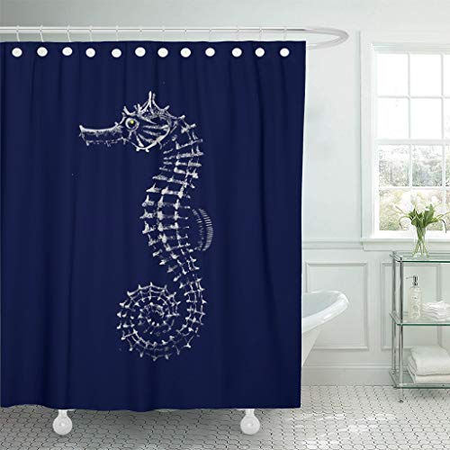 Emvency Fabric Shower Curtain with Hooks Blue Ocean Sea Horse Hippocampus Seahorse Abstract Animal Bending Creatures Dark 72