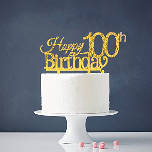 INNORU Happy 100th Birthday Cake Topper - Gold 100th Birthday Party Decoration Supplies