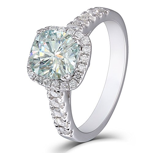 Cushion Cut Center (2ct Center 7.5mm Cushion Cut 3mm Width Moissanite Engagement Ring Solitare with Accents Platinum Plated Silver (8))